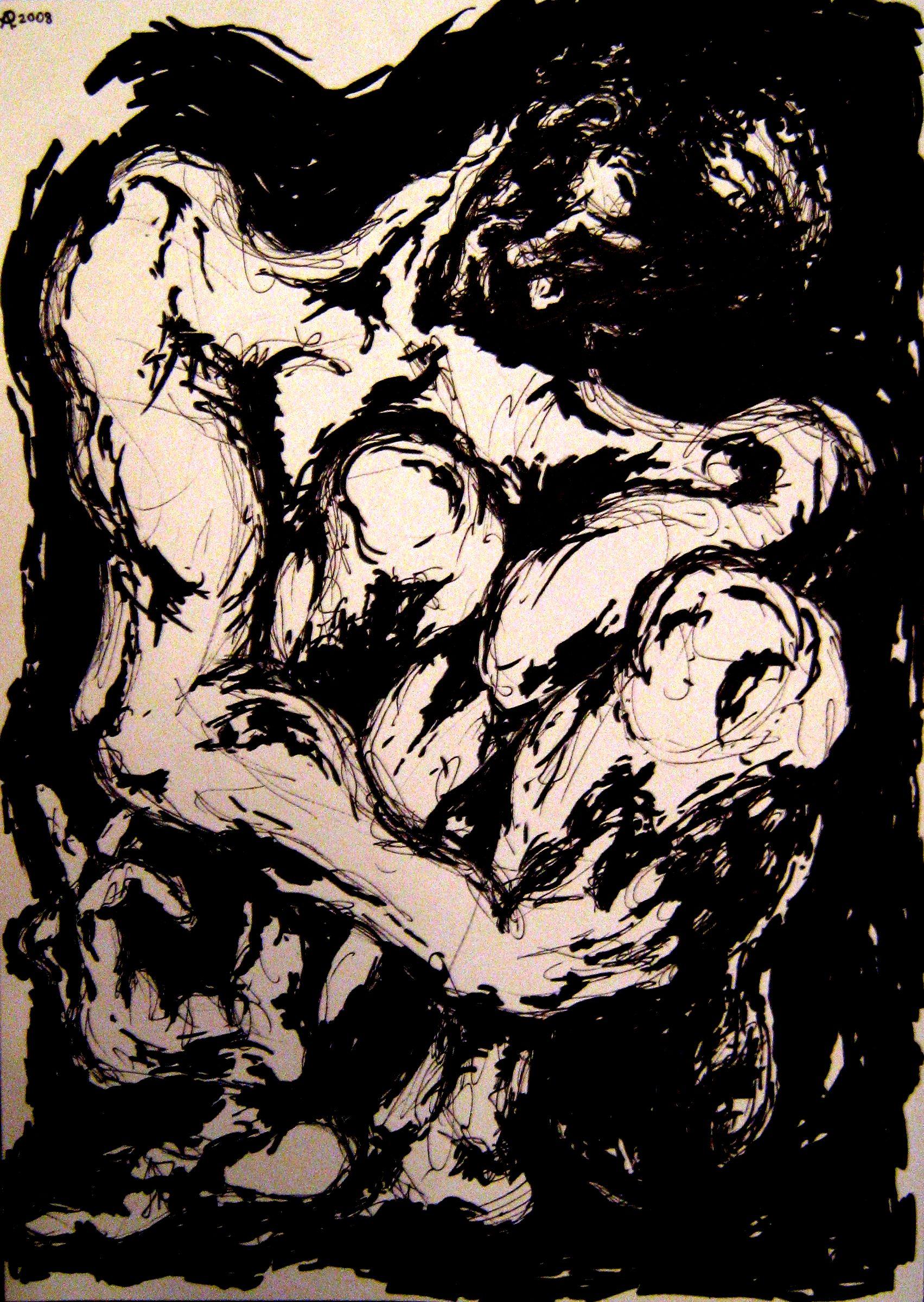 A Hunger Artist (black marker, A3)